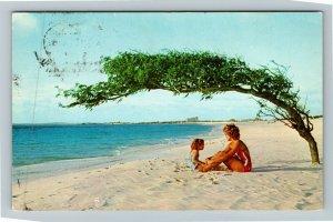 Aruba, Netherlands Antilles, Beach, Swimming, Chrome Postcard