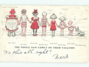 Pre-Linen Comic THE WHOLE DAMN FAMILY ON VACATION AB9155