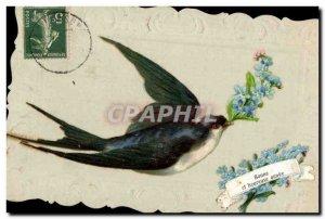Old Postcard Fantasy Flowers Swallow