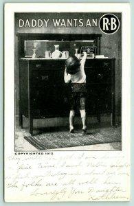 Mishawaka Indiana~Daddy Wants an R-B~Rosenthal Bros Cigars~Boy Reaches Box~1912