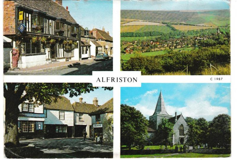 Post Card Sussex ALFRISTON 4 views Judges Limited C 1987