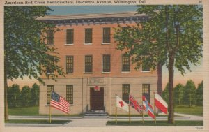 American Red Cross Headquarters Delaware Ave Wilmington Vintage Linen Post Card