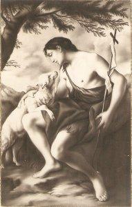 St.John with the Lamb Vintage Spanish religious postcard