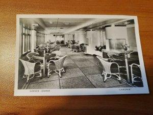 Vintage RPPC of the interior of the Caronia.  Pr. 1950s  Garden Lounge