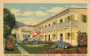 El Morocco Hotel roadside Palm Springs California 1930s Postcard linen Teich 755