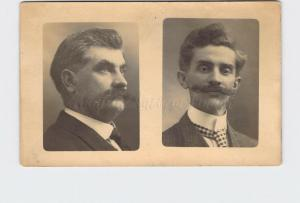 RPPC REAL PHOTO POSTCARD STUDIO PORTRAIT OF TWO MEN WITH EXCELLENT MOUSTACHES