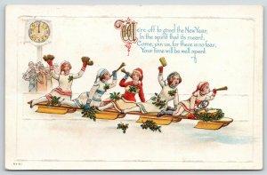 New Year Revelers~Cheer Leaders on Toboggan Blow Horns~Spin Noisemakers~Emboss