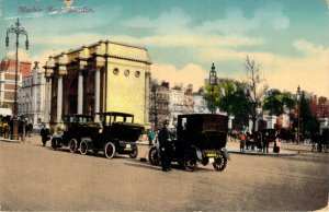 Marble Arch London 1913 Old Automobiles and Bobbie Policeman Div Back Postcard