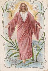 Jesus risen. Blessing  Vintage American religious postcard