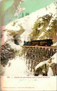Vtg Postal Udb Túnel Encendido el Blanco Pase & Yukon R.r. Railroad Ed. Mitchell