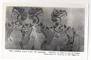 RPPC Greece Knossos Crete Minoan Dames en Bleu Fresco