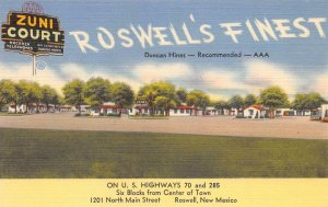 ZUNI COURT Roswell, New Mexico Highway 70 Roadside Linen Vintage Postcard c1940s