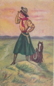 AS: A Long Way Home, Woman looking afar on hill, Horse, PU-1911