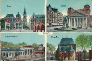 Germany Aachen Dom Theater Elisenbrunnen Ponttor Advertising Postcard 03.41