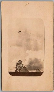 Vintage 1910s EARLY AVIATION Real Photo RPPC Postcard Biplane in Sky / Unused