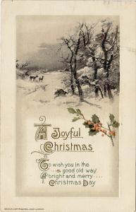 A Joyful Christmas Poem, Deer, Holly, Winter Scene, PU-1920