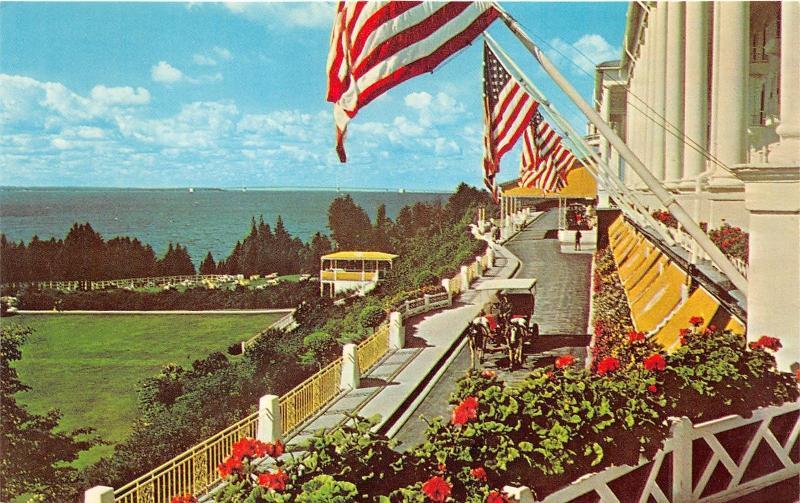 Mackinac Island Michigan Grand Hotel Porch View Horse Carriage Bridge Bknd 1960s
