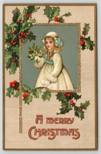 Victorian Christmas~Little Girl w/ Holly Berry Bouquet~Gold Leaf Emboss~Germany