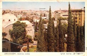 Israel Old Vintage Antique Post Card Jerusalem Partial View 1959
