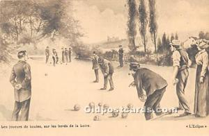 Old Vintage Lawn Bowling Postcard Post Card Les Joueurs de Boules Unused