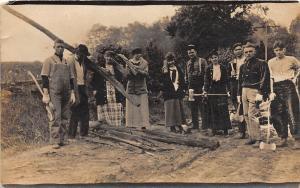 B29/ Occuptional Worker RPPC Postcard c1910 Logging Harvesting Women Axe 8