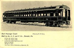 PA - Steel Passenger Coach, Pennsylvania RR. Built by A.C.& F. Co., Berwick, PA