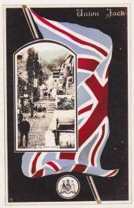 CLOVELLY, Devon, England, United Kingdom; High Street, Union Jack, 00-10s