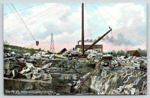 Barre Vermont~Wells & Lampson Marble Quarry~Crane & Overhead Tram~1908 Postcard
