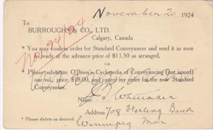 CALGARY, Alberta, Canada, PU-1924: Burroughs & Co. Ltd., Confirmation Of Order