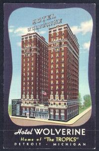 Wolverine Hotel Detroit MI unused c1941