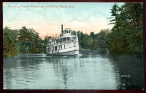 dc1433 - RIDEAU RIVER Ontario Postcard 1910 Steamer in Devil's Elbow
