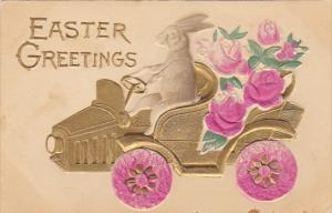 Easter Rabbit Driving Gold Car Filled With Roses
