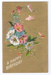 Birthday Embossed Flowers Gilt Background Gold