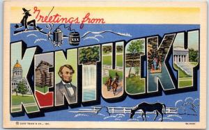 KENTUCKY Large Letter Postcard Moonshine / Horse Farm Curteich Linen c1940s