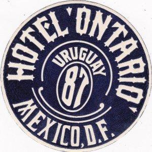 Mexico Mexico City Hotel Ontario Vintage Luggage Label sk2497