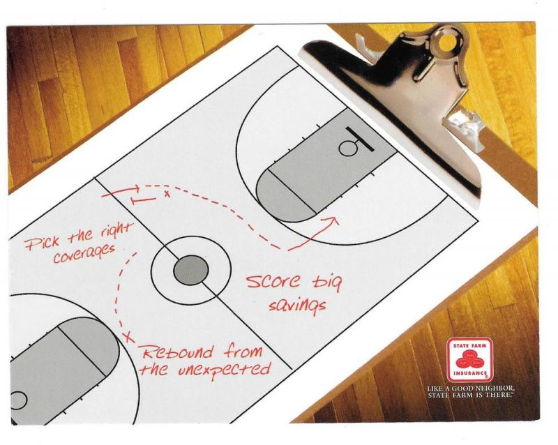 Advertising Postcard State Farm Insurance Basketball Game