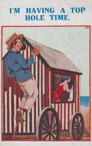 Peeping Tom Watching Couple Make Love Have Sex in Beach Hut Old Comic Postcard