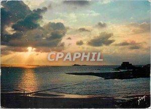 Modern Postcard Saint Malo Ille et Vilaine Sunset on Petit Bey