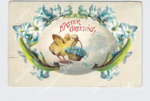 PPC POSTCARD EASTER GREETINGS CHICK WITH BASKET OF FLOWERS EMBOSSED