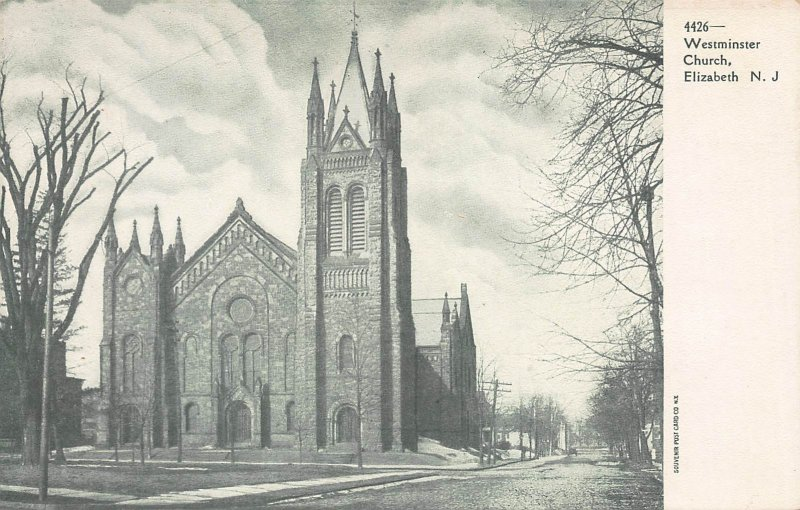 Westminster Church, Elizabeth, New Jersey, early postcard, unused