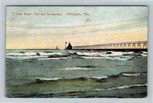 Sheboygan WI-Wisconsin Lakefront, Pier, Breakwater, Vintage c1908 Postcard