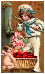 Valentine ,  Sailor suit , basket of hearts