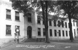 Morrison Illinois~Whiteside County Court House~Bird House in Front~1940s RPPC