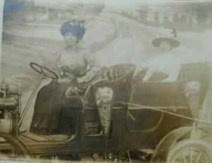 1918 RPPC Postcard Wisconsin Chippewa State Fair Women in Car Pennant