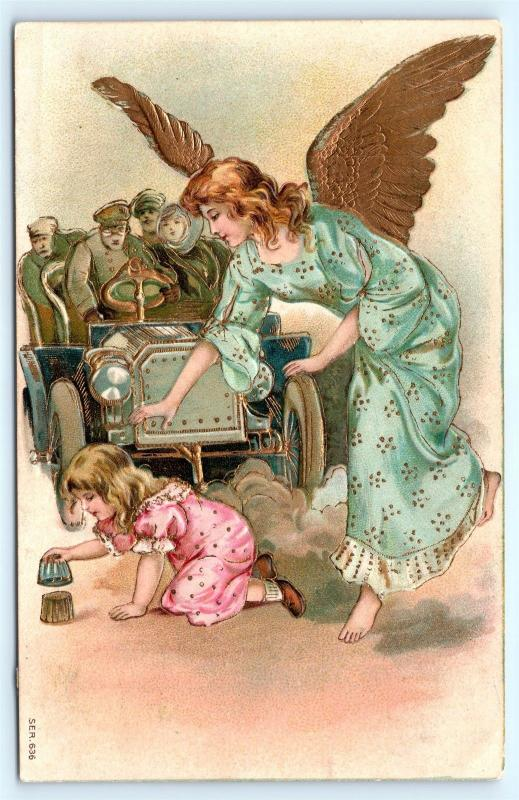 Postcard Guardian Angel Saving Girl From Being Hit by Speeding Car 1908 L16