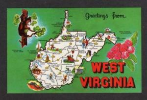 WV Greetings from WEST VIRGINIA State Map Lewisburg PC