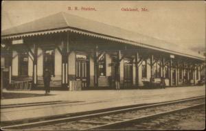 Oakland ME RR Train Station Depot c1910 Postcard