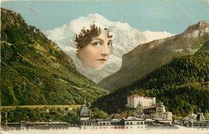 Interlaken Switzerland Jungfrau metamorphic surrealism lady face mountains 1908