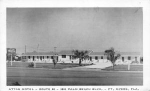 Fort Ft Myers FL~Attas Motel~Palm Beach Boulevard~Roadside Route 80~1940s B&W PC