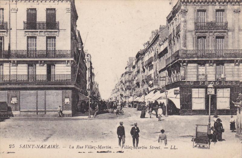 SAINT-NAZAIRE (Loire Atlantique), France, 1900-1910s ; La Rue Villez-Martin